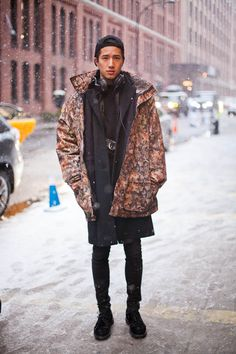 Winter Streetstyle at the Standard | SOLETOPIA fashion men tumblr parka black on black shoes jeans jacket shirt cap new york style