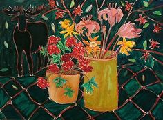 Malin, Lynn | A Moose Picnic | oil on paper on board To view this artwork visit us on the Lower Level of your AGA at 2 Sir Winston Churchill Square, Edmonton, Alberta, T5J 2C1 http://www.youraga.ca/artrental | #yegart #yegarts #stilllife #floral #flowers