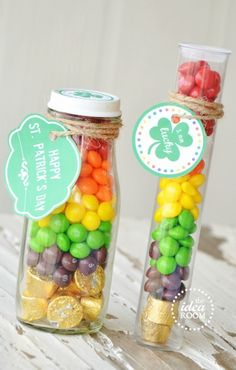 DIY Rainbow Candy Jar - St. Patrick's Day Crafts for Kids, St Patricks Day Treat Ideas, Holiday Gift Ideas