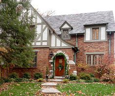Tudor Color Schemes.  I love the number of lines & curves happening in Tudor homes.  I also love the use of Timber...