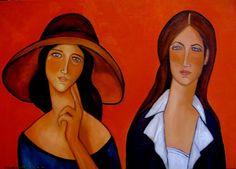 Painting Dwie bez kota - Artist Krystyna Ruminkiewicz