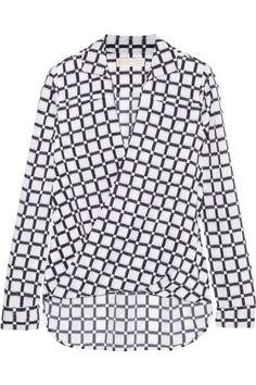 MICHAEL Michael Kors | Wrap-front printed crepe blouse | NET-A-PORTER.COM