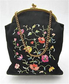 VINTAGE ROSENFELD FLORAL EMBROIDERED WITH GOLDEN CHAIN HANDBAG