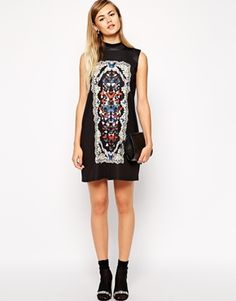 Enlarge ASOS Shift Dress in Scuba Butterfly Print with High Neck - perfect over leggings/tights for the fall and winter seasons!! Easy to dress up or down