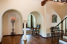 Bench in entry. Spanish, Spanish Colonial, Spanish Revival Architecture  OMG! I love this!!! My dream home style!! ~Lola
