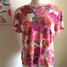 Rose tee So pretty! It's a white blouse with pink and peach colored roses. 100% cotton. It's very stretchy and comfortable. Croft & Barrow Tops Tees - Short Sleeve