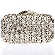 2015 Luxury Bridal Evening Bag Real New Desigual Golden Clutch Women Full Crystals Flower Style Metal Purse Hard Case Handbags(China (Mainland))