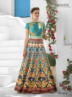 SAPTARANGI VL-107-D_1 RATE : 3450 - SAPTARANGI VASTREENI  101-109 SERIES  DESIGNER TRADITIONAL LOOK 2IN1 STYLE PRINTED PARTY WEAR LEHENGA & GOWN STYLE INDIAN WOMEN FASHION STYLISH SUITS AT WHOLESALE PRICE AT DSTYLE ICON FASHION CONTACT: +917698955723 - DStyle Icon Fashion