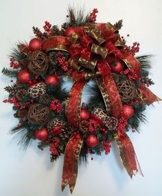 Luxurious Leopard Christmas Wreath Natural Swag Door Decor Tree Winter Wispy | eBay