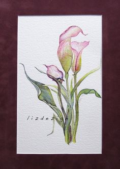 A set of gorgeous Original Fine Art Watercolor by lizdezign.  #5 of set of 5, $349, Matts included.