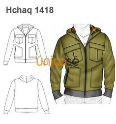 CHAQUETA HOMBRE Sewing Men, How To Make Clothes, Fashion Design Sketches, Drawing Clothes, Fashion Flats, Sweater Jacket, Designs To Draw, Sport Wear, Menswear