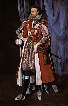 1615: Philip Herbert, 4th Earl of Pembroke, in the robes of the Order of the Garter . Unknown artist, National Portrait Gallery, London.