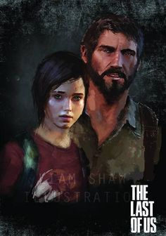 Joel and ellie Artwork by Liam Shaw Joel And Ellie, 1 Y 2, The Evil Within, Zombies, Walking Dead, Illustration, Artwork, Video Games, Gaming