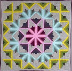 A New Barn Raising quilt pattern by Carl Hentsch | 3 Dog Design Company.  Log cabin and diagonal log cabin blocks.