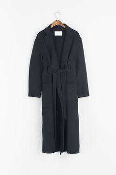 Handmade Simpe Long Coat, Black, 90% Wool, 10% Polyamide