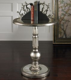 "NEW LARGE 30"" SILVER ANTIQUED MIRROR ROUND ACCENT SIDE END TABLE VINTAGE DISPLAY #Contemporary"