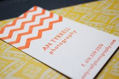 chevron business cards from blushing pearl