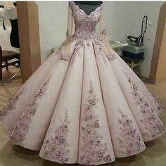 Charming Lace Embroidery Long Sleeves Ball Gown Prom Dress