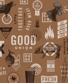 Good Union is a modern BBQ restaurant concept where handcrafted local food and beer bring good people together for a unique experience that rivals Texas' best BBQ joints. Food Graphic Design, Vintage Graphic Design, Graphic Design Typography, Graphic Design Inspiration, Brand Packaging, Packaging Design, Branding Design, Logo Design, Menu Design