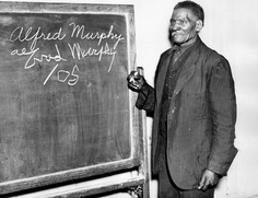 "Photograph of Alfred Murphy, an ex-slave who lived in Columbus, Franklin County, Ohio. ""Never Too Old to Learn!"" That's the slogan of this 105 year old ex-slave who was a pupil in a literacy class conducted by the WPA in Columbus, Ohio. #BlackHistory"
