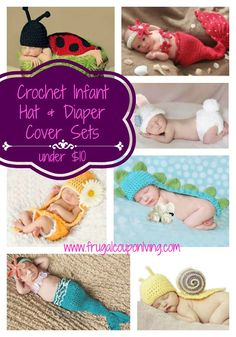 Crochet Infant Hat and Diaper Covers Photo Prop Sets Under $10 Shipped #hotDeals