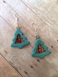 Turquoise Christmas Tree Earrings on Etsy, $12.00