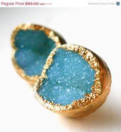30% OFF SALE Green druzy stud earrings, 18k gold dipped