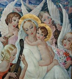 """Madonna and child with angels making music"" Thé au Jasmin: Gerda Wegener (1889-1940), Femmes fatales...my kind of Madonna"