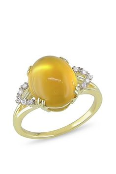 Yellow Gold Cabochon Citrine & Diamond Ring