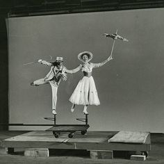 "Julie Andrews and Dick Van Dyke during production of ""Mary Poppins"" (1964)."