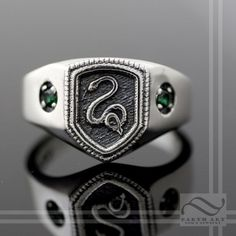 Custom Made Harry Potter Inspired Slytherin House Ring *not a Slytherin but...ooooohhhhhh....*