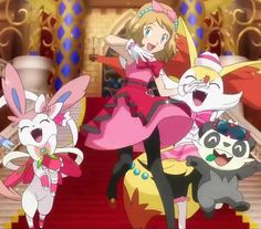 """Pokémon XYZ Series - """"Performing a Pathway to the Future"""" Serena and her Pokémon, Braxien, Pancham & Sylveon Performing Together for . Serena and her Performance Team Sexy Pokemon, Pokemon Team, Pokemon X And Y, Pokemon People, Pokemon Memes, Pancham Pokemon, Pokemon Eeveelutions, Eevee Evolutions, Ash And Dawn"""