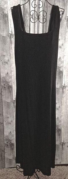 Chicos Travelers Classic Black Maxi Dress Stretch Shelf Bra Size 2/Large 12 #Chicos #Dress