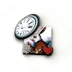 Alice in Wonderland Brooch White Rabbit Brooch by LaurasJewellery, £7.00