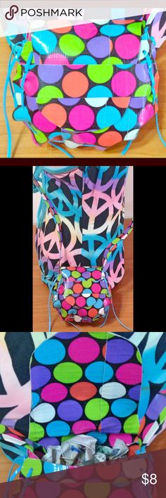 """Child Size Saddlebag Purse Rainbow Polka Dots CHILD'S SIZE SADDLEBAG PURSE  4"""" x 3-1/2"""" with 36"""" (18"""" drop) shoulder strap - perfect for use as a shoulder bag or crossbody bag.  Handcrafted from Rainbow Polka Dot retired print Duct Tape, reinforced at the stress points securely laced around with a tuck flap closure front makes every little girl feel like a """"big girl like mommie"""".  In stock & ready to ship now  Over 200 prints & solids in stock for custom orders, please allow 5 days for…"""