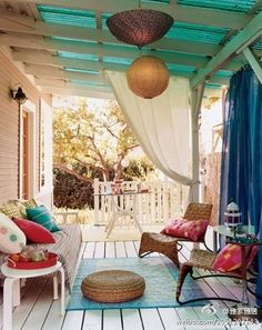 Loving the curtains !! I live in an apartment complex and hanging (maybe shower curtains???) on my patio would give me just that little bit of extra privacy B]