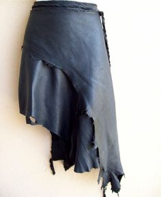 Dark as Night Leather Skirt by ArchaicLeatherworks on Etsy