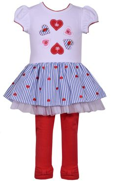 7a3e81fe84 Bonnie Jean Girls Valentines Day Heart Tulle Dress Leggings Size 4 5 6 6X  New #