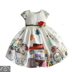 "This white frock is another pretty summer wearable dress. The white color is so soothing to eyes. The prints are so cool and are related to kid's day-to-day life which also says ""Welcome Home. Stylish Dresses, Casual Dresses, Girls Dresses, Party Wear Dresses, Birthday Dresses, Baby Princess Dress, White Frock, Kids Frocks, Baby Couture"