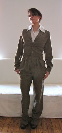 pretty awesome -- turning a man's suit into a women's suit. Almost like a 1940s flight suit