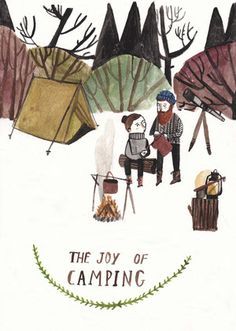 The Joy of camping - Illustrator Dick Vincent Image Citation, Tent Camping, Camping Hacks, Cute Illustration, Artsy Fartsy, Les Oeuvres, Bunt, Collages, Illustrators