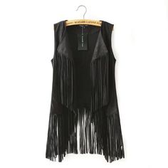 autumn winter faux suede ethnic sleeveless tassels fringed vest cardigan black khaki