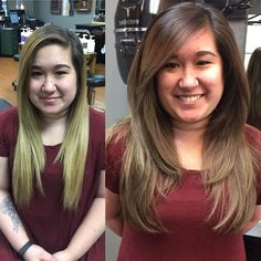 New haircut before and after layered Ideas Trendy Haircuts, Haircuts For Long Hair, Girl Haircuts, Layered Haircuts, Hairstyles With Bangs, Medium Hair Cuts, Long Hair Cuts, Curly Hair With Bangs, Curly Hair Styles