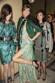 Lanvin green color backstage models