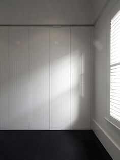Architecture's use of white-painted v-groove timber to add texture to joinery, walls and ceilings Wardrobe Doors, Bedroom Wardrobe, Built In Wardrobe, Wardrobe Design, Linen Cupboard, Cupboard Doors, Bedroom Ceiling, Home Decor Bedroom, Timber Door