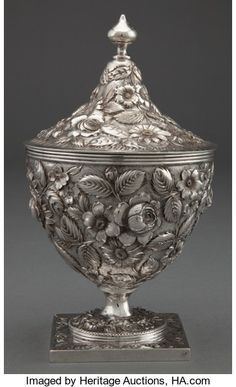A PETER KRIDER SILVER COVERED SUGAR URN . Peter L. Krider | Lot #68671 | Heritage Auctions Philadelphia, Antique Silver, Auction, Antiques, Metal, Cover, Gold, Sugar, Silver