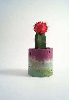 Bright Pink & Mint Concrete Vessel by studioemmamcdowall on Etsy Grafted Cactus, Cement Crafts, Diy Candles, Recycled Materials, Bright Pink, Techno, Really Cool Stuff, Concrete, Diy Projects