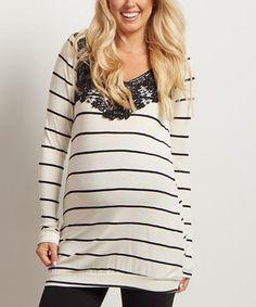 Loving this PinkBlush Cream & Black Stripe Crochet-Accent Maternity Top on #zulily! #zulilyfinds
