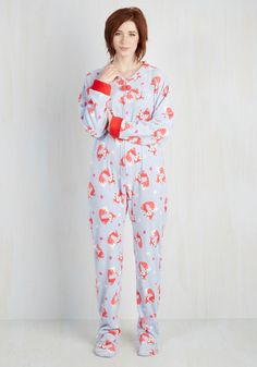 Fauna Friend One-Piece Pajamas in Foxes From The Plus Size Fashion Community At www.VintageAndCurvy.com