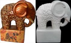 1323 Elefante con Base Elephants Never Forget, Paper Clay, Polymer Clay Art, Elephant Stuff, Lion Sculpture, Ceramics, Statue, Aga, Handmade
